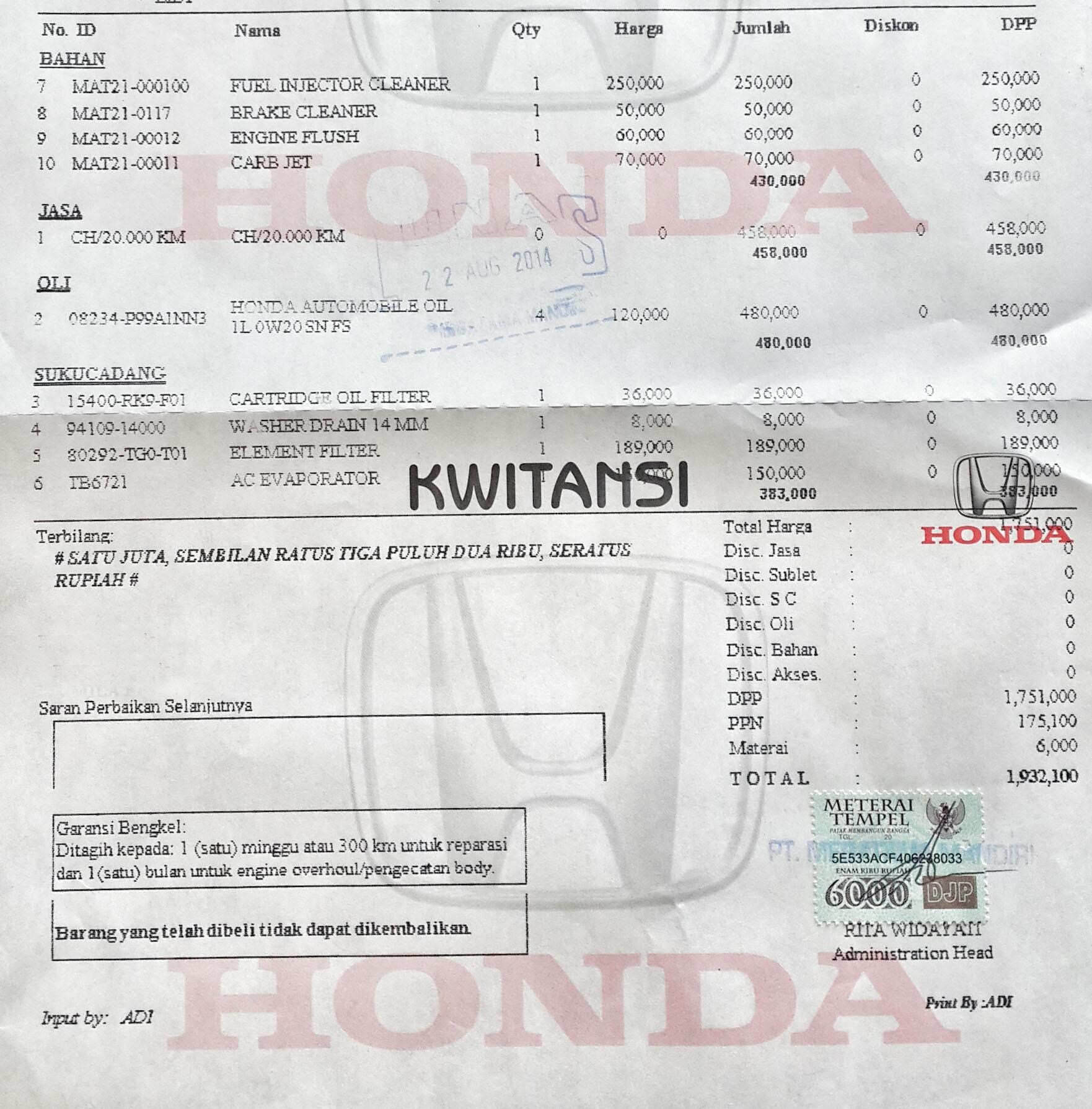 Service Rutin Honda Brio 20000 Km Perawatan Honda Brio